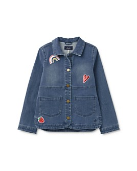 Joules - Girls' Cotton-Blend Chambray Patch Jacket - Little Kid, Big Kid