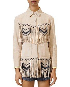 Maje - Bastery Leather Shirt Jacket