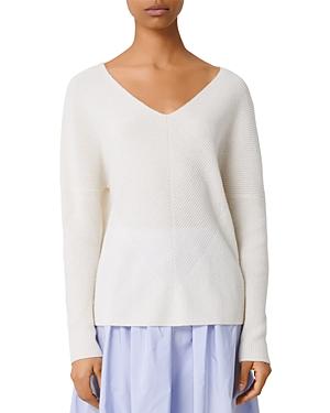 Maje Madina Ribbed Cashmere V-Neck Sweater-Women