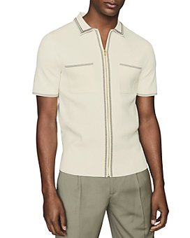 REISS - Slim-Fit Tipped Zip-Front Shirt