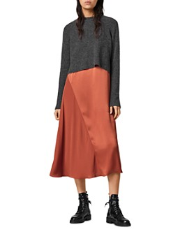 ALLSAINTS - Ageta Two-In-One Midi Dress
