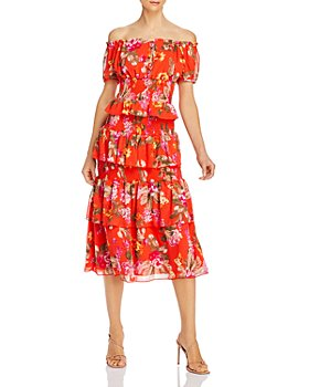 WAYF - WAYF Leslie Off-the-Shoulder Floral Top & Byron Tiered Midi Skirt