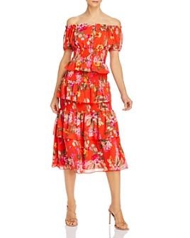 WAYF - WAYF Leslie Off-the-Shoulder Floral Top & Byron Tiered Midi Skirt