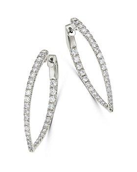 Bloomingdale's - Diamond Inside Out Teardrop Hoop Earrings in 14K White Gold, 2.0 ct. t.w. - 100% Exclusive