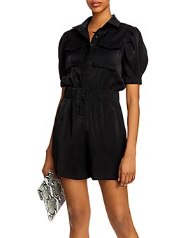 AQUA - Puff-Sleeve Romper - 100% Exclusive