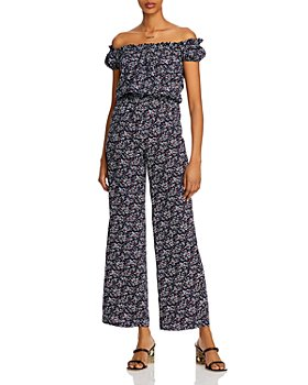 AQUA - Printed Off-the-Shoulder Jumpsuit - 100% Exclusive