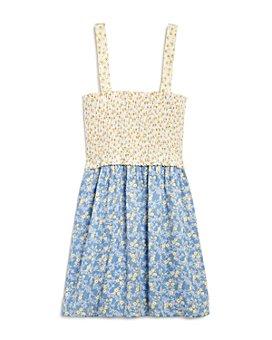 AQUA - Girls' Mixed-Print Smocked Sleeveless Dress - 100% Exclusive