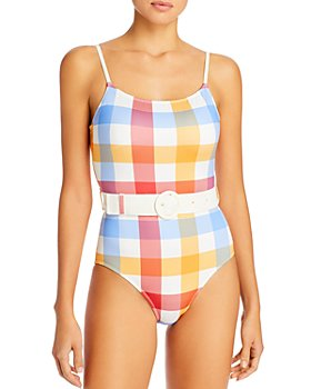 Solid & Striped - The Nina Striped Belted One Piece Swimsuit