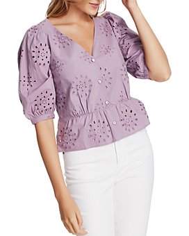 1.STATE - Cotton Eyelet Button-Front Top