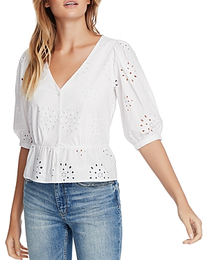 Image of 1.state Cotton Eyelet Button-Front Top