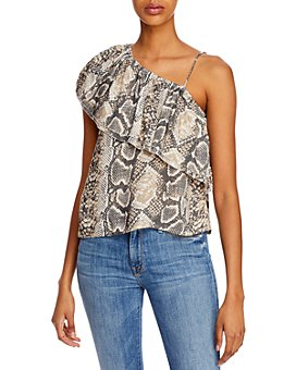 Vintage Havana - One-Shoulder Snakeskin-Print Top
