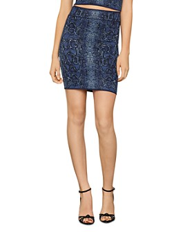 BCBGMAXAZRIA - Snakeskin-Print Bodycon Mini Skirt