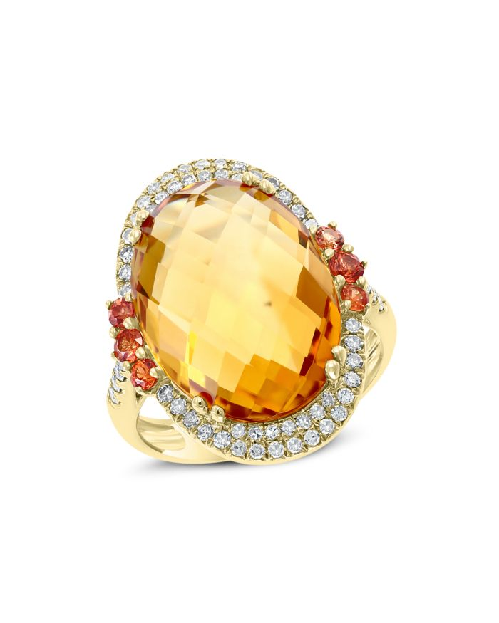 Bloomingdale's Citrine & Diamond Statement Ring in 14K Yellow Gold - 100% Exclusive    Bloomingdale's