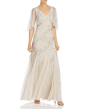 Adrianna Papell - Beaded Mesh-Cape Gown