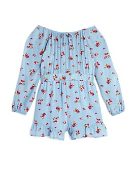 AQUA - Girls' Floral Ruffle Romper, Big Kid - 100% Exclusive