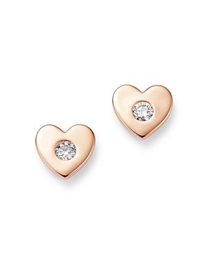 Bloomingdale's Diamond Heart Stud Earrings in 14K Rose Gold, 0.16 ct. t.w. - 100% Exclusive