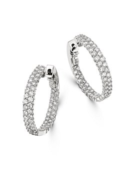 Bloomingdale's - Diamond Double Row Inside Out Hoop Earrings in 14K White Gold, 2.50 ct. t.w. - 100% Exclusive