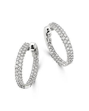 Bloomingdale's Diamond Double Row Inside Out Hoop Earrings in 14K White Gold - 100% Exclusive