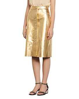 Sandro - Gleam Metallic-Leather Pencil Skirt