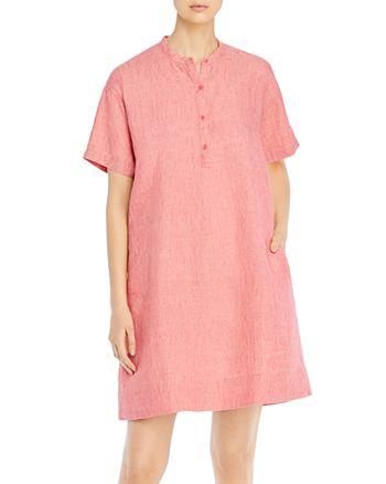 Eileen Fisher Petites - Organic Linen Mandarin Collar Dress
