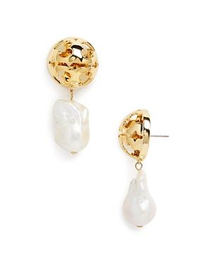 Tory Burch Miller Bubble & Baroque Pearl Drop Earrings