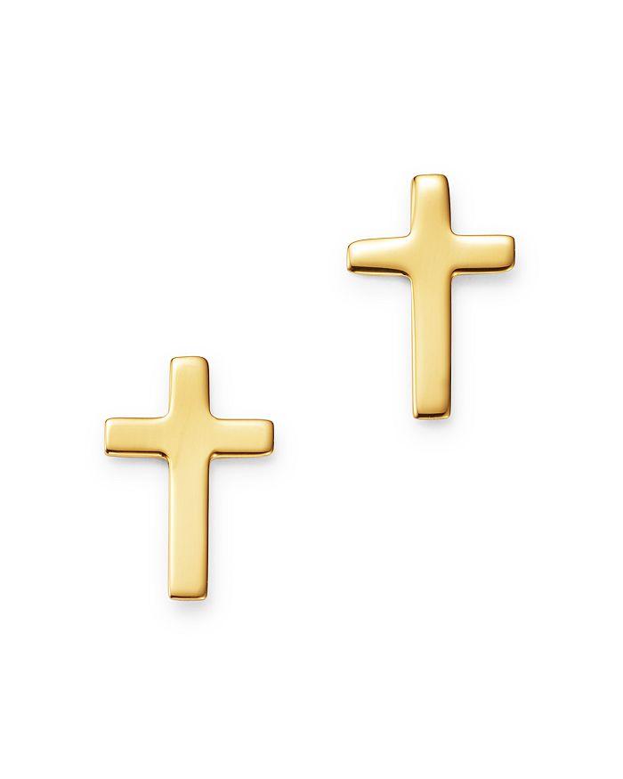 Bloomingdale's - Narrow Cross Stud Earrings in 14K Yellow Gold - 100% Exclusive