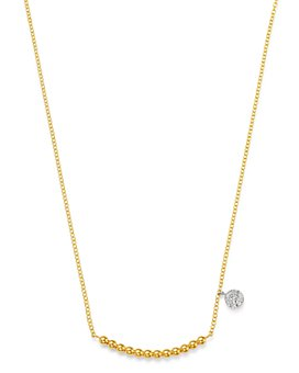 """Meira T - 14K Yellow Gold Ball & Diamond Disc Statement Necklace, 16-18""""L"""