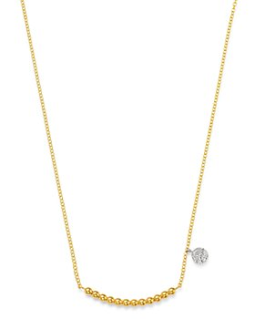 "Meira T - 14K Yellow Gold Ball & Diamond Disc Statement Necklace, 16-18""L"
