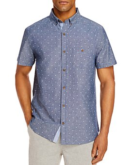 Sovereign Code - Town Cotton Chambray Square Dot-Print Regular Fit Button-Down Shirt