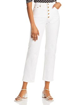 Tory Burch - Button-Fly Straight-Leg Denim Jeans