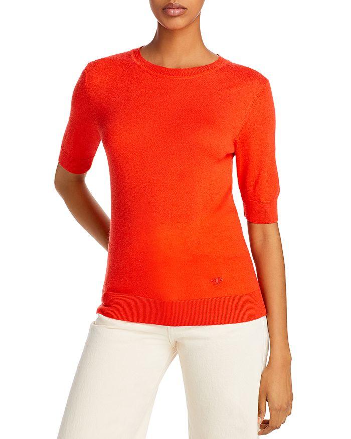 Tory Burch - Short-Sleeve Iberia Cashmere Sweater