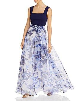 Eliza J - Printed-Skirt Tie-Waist Gown
