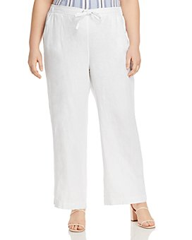 VINCE CAMUTO Plus - Linen Drawstring Wide-Leg Pants