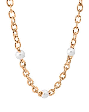 Majorica Link & Simulated Pearl Collar Necklace, 16-18