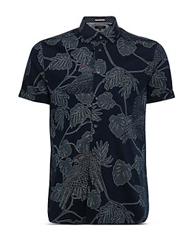Ted Baker - Cotton-Blend Leaf-Print Slim Fit Shirt