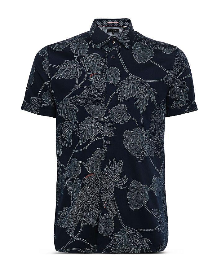 Ted Baker - Cotton-Blend Leaf-Print Slim Fit Shirt