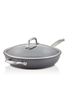 """Anolon - Accolade Hard-Anodized Nonstick Deep 12"""" Frying Pan with Lid and Helper Handle, Moonstone"""