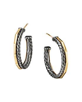 David Yurman - Stax Hoop Earrings in Blackened Sterling Silver & 18K Yellow Gold