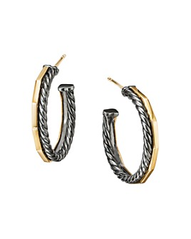 David Yurman - Stax Hoop Earrings in Blackened Sterling Silver & 18K Yellow Gold