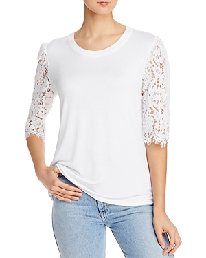 Lace-Sleeve Knit Top
