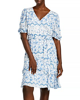 AQUA Curve - Printed Tiered Hem Dress - 100% Exclusive