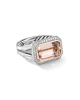 David Yurman - Sterling Silver Novella Statement Ring with Morganite, Pavé Diamonds and 18K Rose Gold