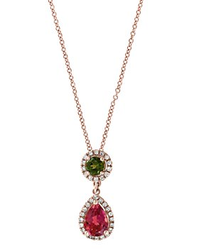 """Bloomingdale's - Multicolor Tourmaline & Diamond Pendant Necklace in 14K Rose Gold, 18"""" - 100% Exclusive"""