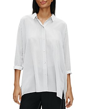 Eileen Fisher Petites - Pinstriped Silk Button-Front Shirt