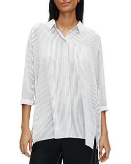Eileen Fisher Petites - Pinstriped Silk Button Front Shirt