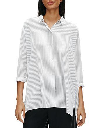 Eileen Fisher Petites - Pinstriped Silk Button-Front Shirt