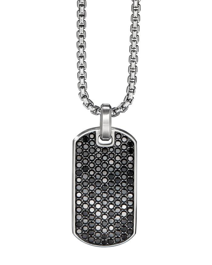 David Yurman Streamline® Tag Pendant with Pavé Black Diamonds  | Bloomingdale's