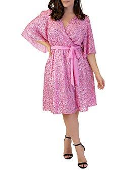 Maree Pour Toi Plus - Sequin Faux-Wrap Dress