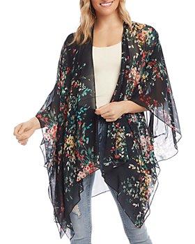 Karen Kane - Floral-Print Draped Kimono