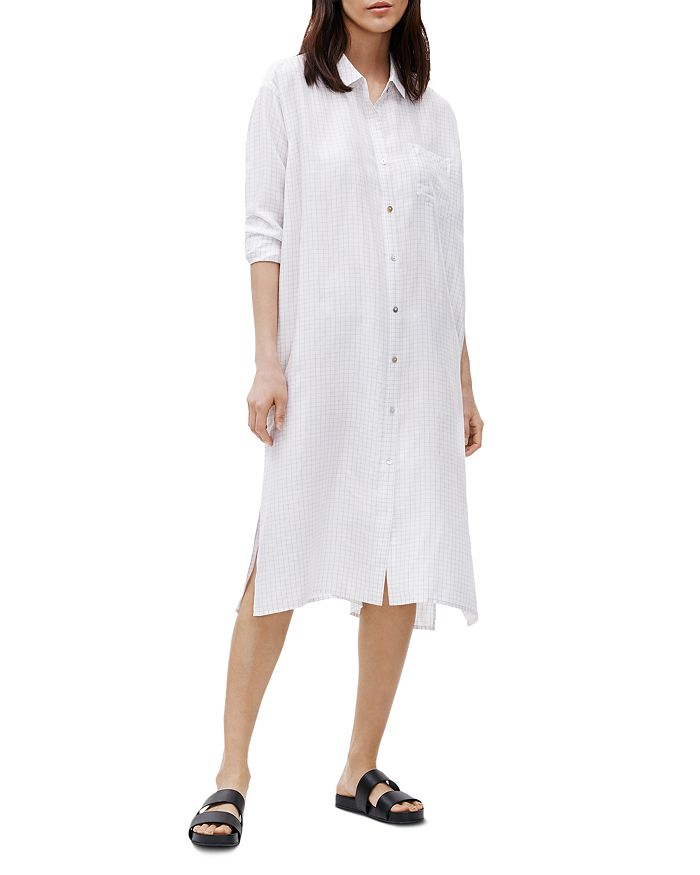 Eileen Fisher - Checked Silk Shirt Dress